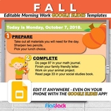 Editable FALL Autumn Morning Work GOOGLE SLIDES Templates