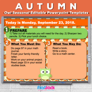 editable fall owl themed morning work powerpoint templates tpt