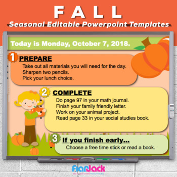 Editable FALL Themed Morning Work PowerPoint Templates