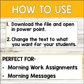 Editable FALL Themed Morning Work PowerPoint Templates