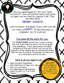 Editable FOURTH Grade Math Engage New York Binder Covers - Black & White