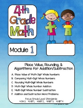 Editable FOURTH Grade Math Engage New York Binder Covers - Watercolor