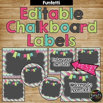 Editable FUNFETTI & Chalkboard Chevron and Stripes Labels {30 different labels}