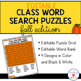 Editable Fall Class Word Search Puzzle Templates