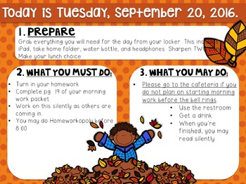 Editable Fall Morning Work/Message Template