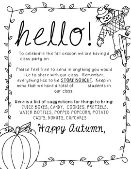Editable Fall Party Letter To Parents By Sharp In Second Tpt