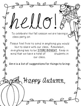 Editable Fall Party Letter to Parents
