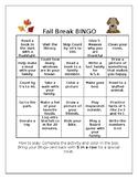 Editable Fall/Thanksgiving Break BINGO