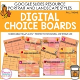 Editable Fall Themed Digital Choice Boards