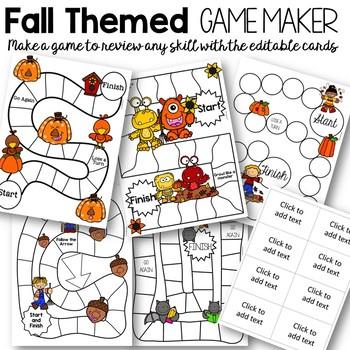 Editable Fall and Halloween Games