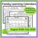 Editable Family Kindergarten Homework Calendar (Aug 2018 - July 2019)