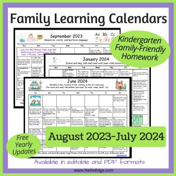 Editable Kindergarten Homework Calendar (Free Yearly Updates)