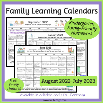 Editable Kindergarten Homework Calendar (Free Yearly Updates)