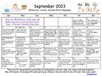 Editable Kindergarten Homework Calendar (Free Yearly Updates)  Distance Learning