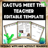 Editable Farmhouse Cactus Meet The Teacher Template