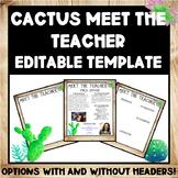 Editable Farmhouse Cactus Meet The Teacher Template