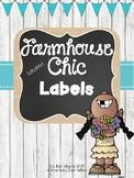 Editable Farmhouse Chic Labels {Shiplap, Burlap & Chalkboard}