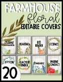 Editable Farmhouse Floral Binder Covers