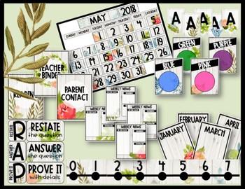 Editable Farmhouse Floral Classroom Decor Bundle
