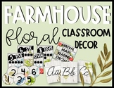 Editable Farmhouse Floral Classroom Decor Bundle
