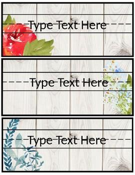 Editable Farmhouse Floral Name Tags