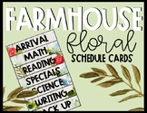 Editable Farmhouse Floral Schedule Cards