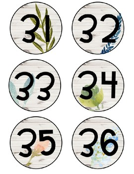 Editable Farmhouse Floral Student Numbers