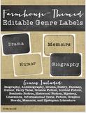 Editable Genre Labels Farmhouse Themed