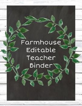 Editable Farmhouse Teacher Binder