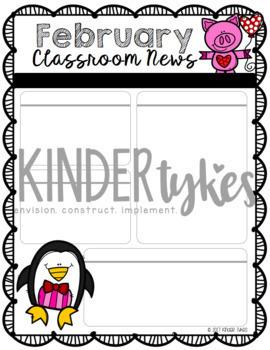 Editable February Classroom Newsletter