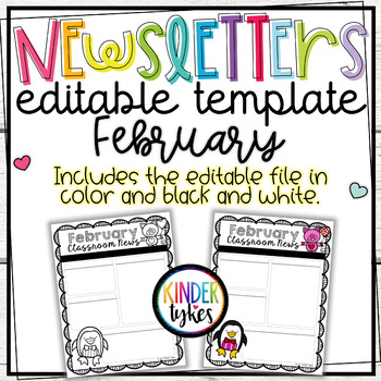 Editable February Classroom Newsletter