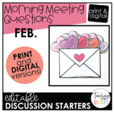 Editable February Morning Meeting Question Cards