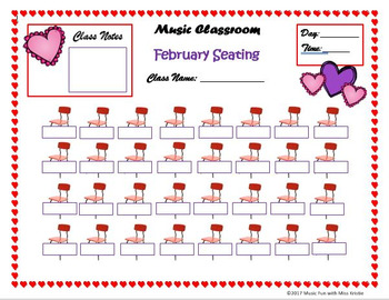 Editable February Music Class Seating Chart