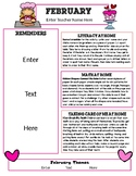 February Newsletter Template with Home Connections for Preschool