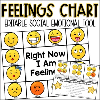 Editable Feelings Chart By The Mountain Teacher  Tpt