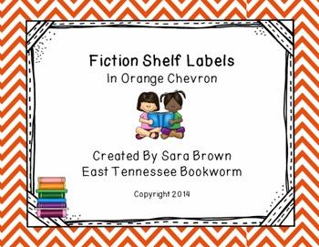 Editable Fiction Labels for Shelf Markers in Orange