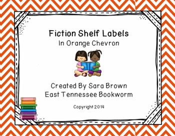 Editable Fiction Labels for Shelf Markers in Orange