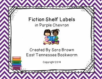 Editable Fiction Labels for Shelf Markers in Purple