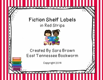 Editable Fiction Labels for Shelf Markers in Red