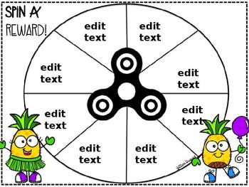 Editable Fidget Spinner Activities