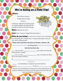 Field Trip Permission Form- Editable