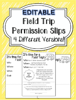 Editable field trip permission slips by southern standards tpt editable field trip permission slips maxwellsz