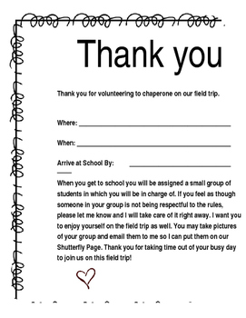 Editable Field Trip Volunteer Form