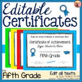 Editable Fifth Grade Certificates for Graduation - Bright Borders