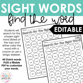 Editable Find the Sight Word Pages