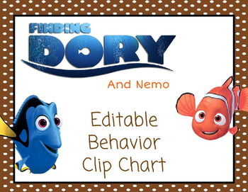Editable Finding Nemo/Dory Behavior Clip Chart