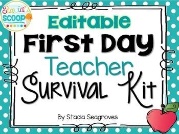 Editable First Day Teacher Survival Kit Card Freebie