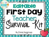 Editable First Day Teacher Survival Kit Card Freebie