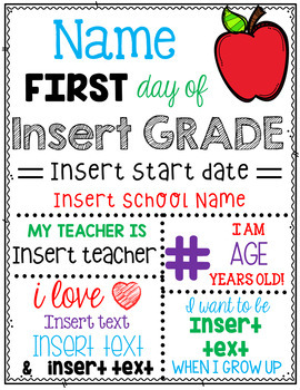 Editable First Day of School / Back to School Sign