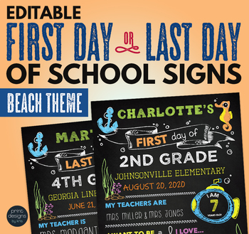 editable first day of school last day of school chalkboard sign